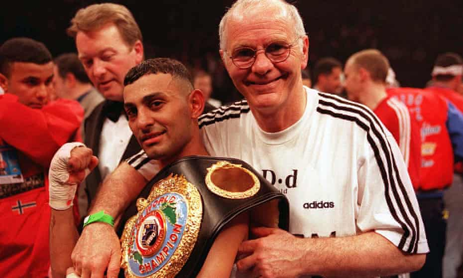 Brendan Ingle celebrating Naseem Hamed's successful defence of his WBO featherweight title against Wilfredo Vazquez, 18 April 1998.