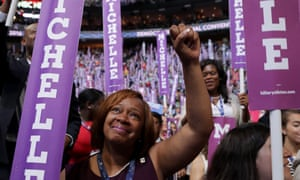 Delegates stood and cheered as the first lady delivered her speech on the first day of the Democratic national convention in Philadelphia.