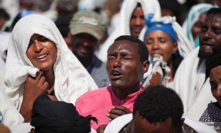 People mourn the fatal shooting of Dinka Chala by Ethiopian security forces in Yubdo, Oromia, Ethiopia