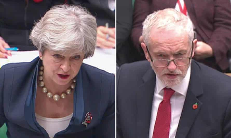 Theresa May and Jeremy Corbyn; May is facing pressure from the CBI over Brexit uncertainty.