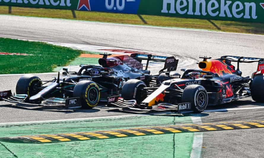 Lewis Hamilton and Max Verstappen side by side before their crash at Monza