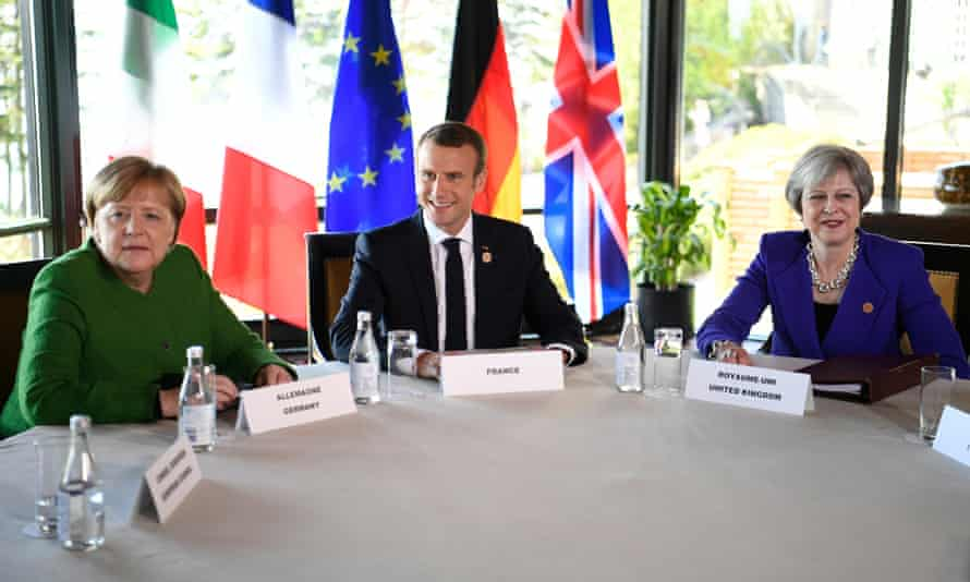 Angela Merkel, Emmanuel Macron and Theresa May