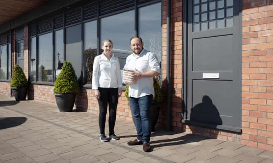Chef James Sommerin with his daughter and sous chef, Georgia, outside their restaurant in Penarth, south Wales.
