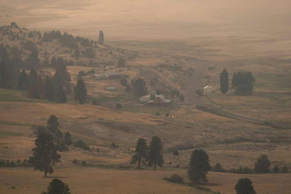 Smoke fills the air as the Bootleg Fire approaches rural properties near Paisley, Oregon.