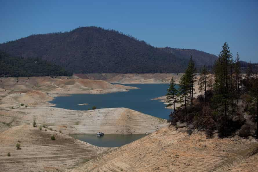 Lake Oroville in California, the state's second largest reservoir, sits at 35% capacity on 16 June.