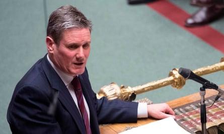 Labour leadership frontrunner, Keir Starmer, speaking in the House of Commons in January 2019.
