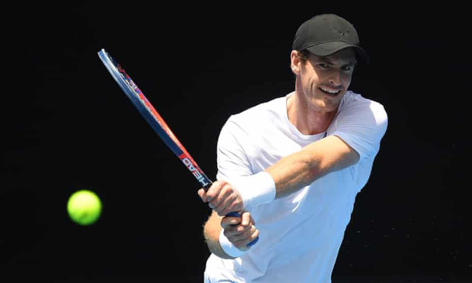 Andy Murray warms up in Melbourne on Saturday.