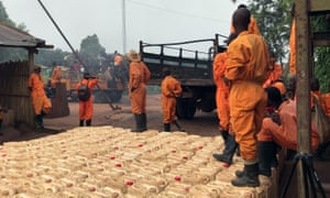 Plantations et Huileries du Congo workers are seen alongside dozens of gallons of pesticide formula in Yaligimba plantation, in the Congolese province of Équateur