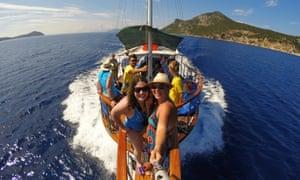 Swimmers aboard the Mowgli