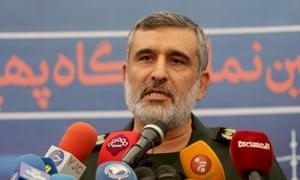 Brig Gen Amir Ali Hajizadeh speaks in Tehran on 21 September 2019.