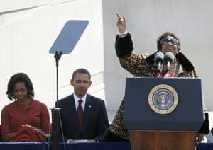 Michelle Obama, Barack Obama, and Aretha Franklin, during the dedication of the Martin Luther King Jr. Memorial in Washington.