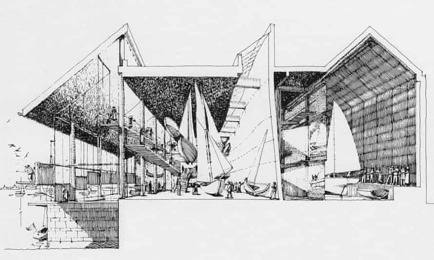 One of MJ Long's fine freehand sketches for the National Maritime Museum at Falmouth
