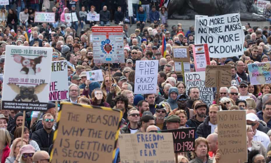 An anti-lockdown protest in Trafalgar Square, London, September 2020