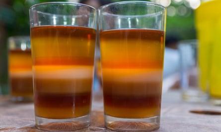 Two glasses of seven-layer tea.