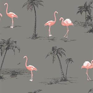 grey pink white flamingo print wallpaper