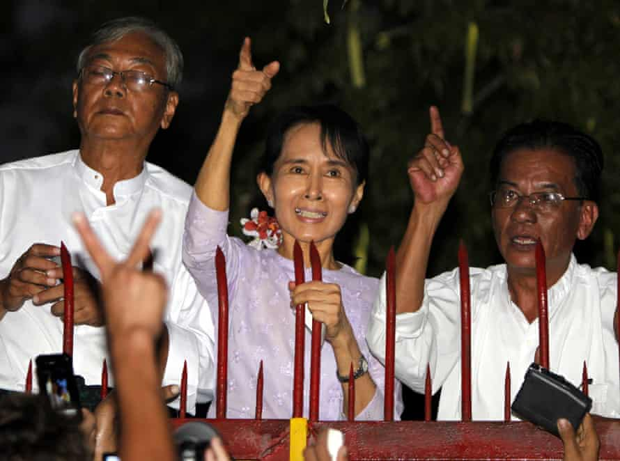 Aung San Suu Kyi in 2010, when she was freed from 15 years of house arrest.