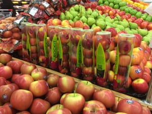 Apples in a plastic tube