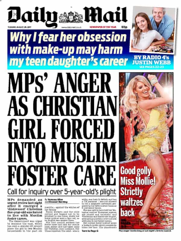 Daily Mail front page from 29 August 2017.
