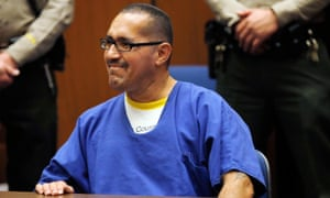 Luis Vargas, who has been in prison for 16 years, reacts in court as he is exonerated on 23 November 2015, in Los Angeles. A judge exonerated Vargas, convicted of three rapes, after DNA evidence linked the crimes to a serial rapist wanted for assaults dating back two decades.