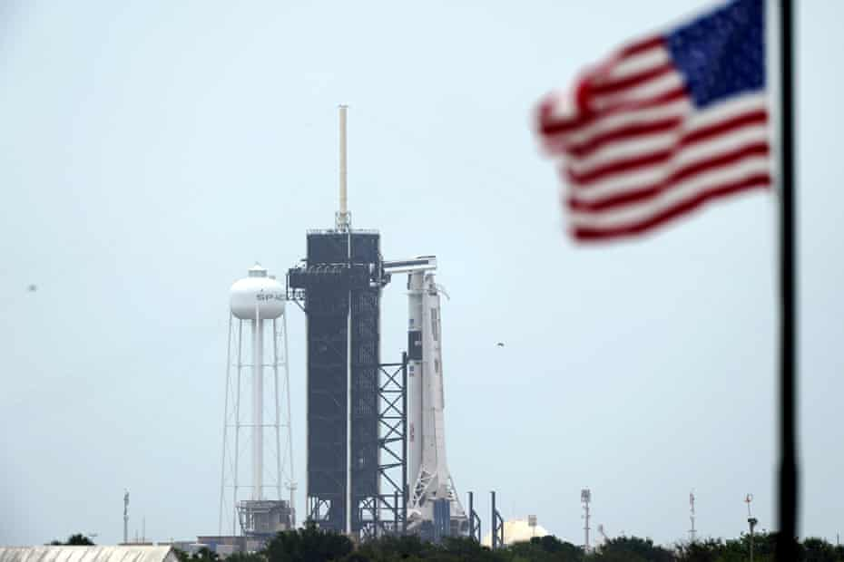 The SpaceX Falcon 9, with the Crew Dragon spacecraft on top of the rocket, sits on Launch Pad 39-A on Monday at Kennedy Space Center.