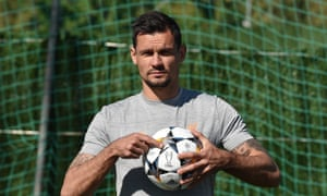 Dejan Lovren trains with the match ball for the Champions League final at Liverpool's camp in Marbella.