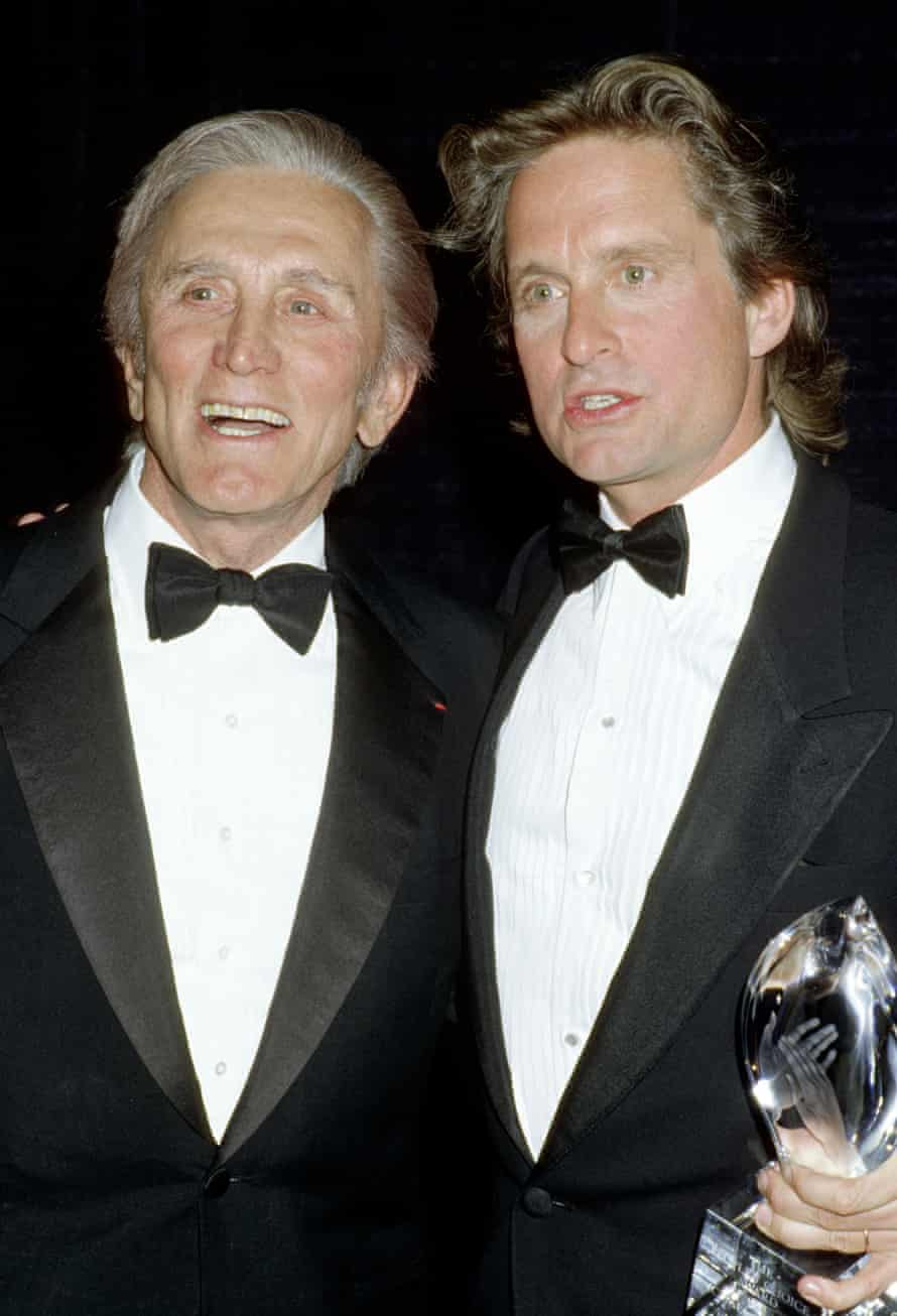 Douglas with son Michael in 1988.