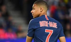 Kylian Mbappé, who scored a hat-trick, and his PSG teammates wore shirts acknowledging the Notre Dame fire during their match against Monaco on Sunday