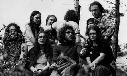 Annegret Gollin (front row, far right) with fellow hitchhikers in Jena, East Germany, 1975.