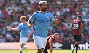 Sergio Aguero celebrates scoring Manchester City's third goal.