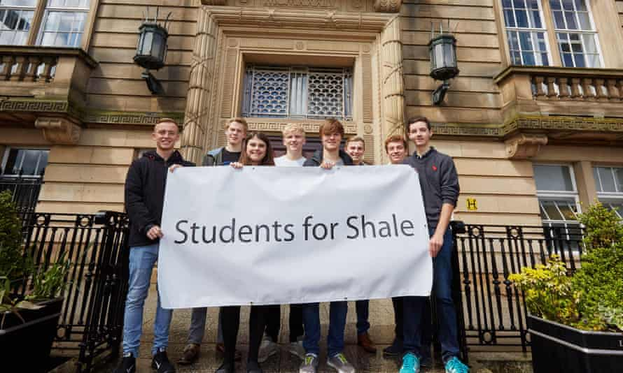 Students on the steps of County Hall in Preston calling on Lancashire county council to approve Cuadrilla's applications for further exploratory drilling.