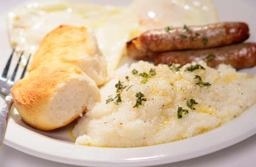 Southern grits with sausages and biscuits.