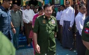 Myanmar's commander-in-chief Senior General Min Aung Hlaing in Yangon, 2019