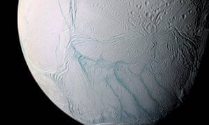Enceladus and its 'tiger stripes' fissures.