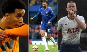 Left to right: Helder Costa of Wolves; Chelsea's Ruben Loftus-Cheek of Chelsea and Eric Dier shushes the Arsenal fans.