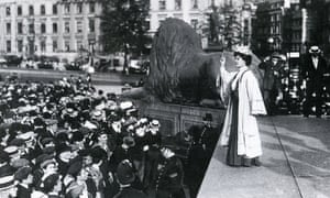 Emily Pankhurst makes a speech in London's Trafalgar Square. Photograph: Alamy
