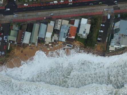 Drone footage taken over Collaroy Beach, New South Wales, on Monday 6 June 2016 shows damage caused by severe storms over the weekend. Images provided by the UNSW Water Research Laboratory
