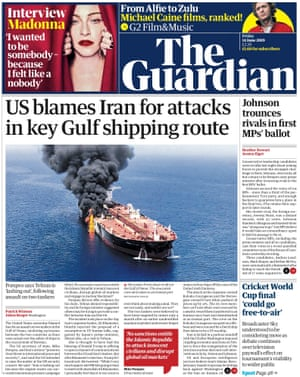 Guardian front page, Friday 14 June 2019