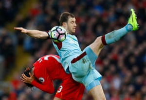 Ashley Barnes in action against Liverpool.