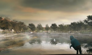 Used for sports in dry weather, Copenhagen's Enghaveparken will transform into a pond when it rains.