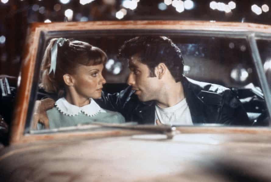 Olivia Newton-John as Sandy and John Travolta as Danny, in a car in Grease