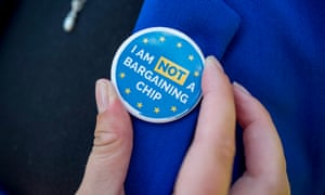 A badge at a Westminster protest over citizens' rights