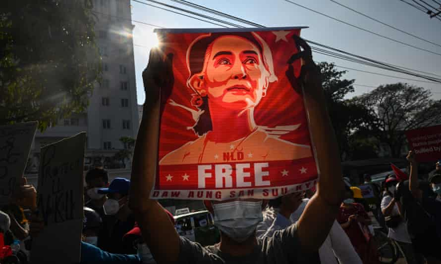 A poster featuring Aung San Suu Kyi during a demonstration against the military coup in Yangon