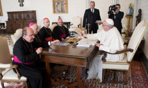 Pope Francis meets members of the Argentinian bishops conference in a private audience at the Vatican on 17 October 2016.