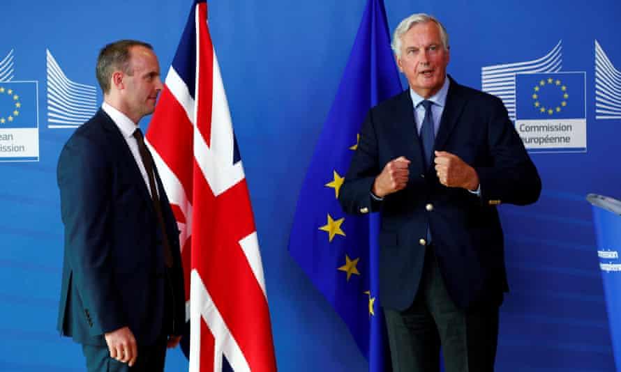 Dominic Raab and the EU's chief Brexit negotiator, Michel Barnier