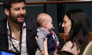 New Zealand prime minister, Jacinda Ardern, with her baby, Neve.