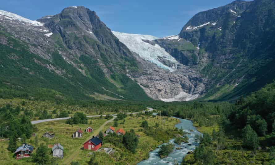 Meltwater rushes from Boyabreen glacier in Fjaerland, Norway