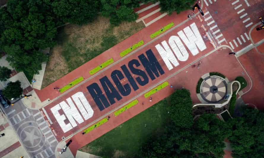 An aerial view of the End Racism Now artwork painted on Main Street in downtown Fort Worth, Texas.