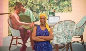 Njideka Akunyili Crosby with her diptych painting Garden, Thriving, 2016.