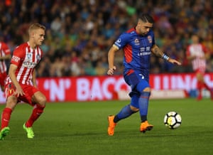 Dimitri Petratos of the Jets controls the ball during the A-League Semi Final match between the Newcastle Jets and Melbourne City at McDonald Jones Stadium.