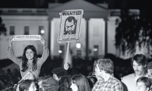 A crowd celebrate Nixon's resignation. The Watergate scandal is the subject of Slow Burn